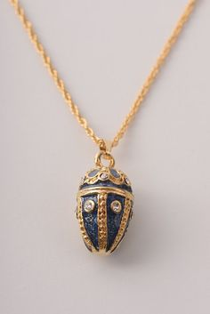 Blue & Gold Egg Pendant Necklace Faberge Styled Handmade by Keren Kopal Enamel Painted Decorated with Clear Swarovski Crystals