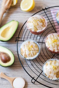Gorgeous lemon avocado muffins with poppy seeds and a simple sugar glaze. Perfect for Lent as they are dairy and egg free. For a vegan option just switch the honey with some agave nectar. Avocado Muffins, Baked Avocado, Vegan Desserts, Delicious Desserts, Dessert Recipes, Yummy Food, Lemon Recipes, Avocado Recipes, Avocado Dessert