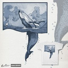 Breaching Humpback Whale and Tiny Boat on Threadless