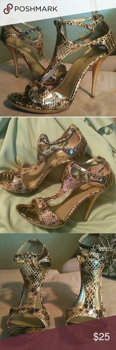 "Michael Antonio Faux Snakeskin Heels Super sexy heels with gold tone faux snakeskin wit 5"" heel and 1/2"" platform. Worn only once. Heels and tips I  pristine condition. Brown, tan and gold colors. Michael Antonio Shoes Heels"