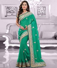 Buy Green Faux Georgette Saree With Blouse 75525 with blouse online at lowest…