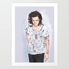 Harry tattoos T-shirt Art Print by coconutwishes Harry Styles, Harry Edward Styles, Amazing Drawings, Beautiful Drawings, Tattoo T Shirts, Tattoos, Harry 1d, 1d And 5sos, Girls Girls Girls