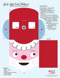 Santa gift card holder by Emily Balsley for Happy Happy Art Collective Christmas Makes, Christmas Ideas, Christmas Gifts, Xmas, Folder Games, File Folder, Noyeux Joel, Diy Presents, Happy Art
