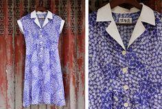Vintage 50s Style Blue Printed Dress. $22.00, via Etsy.