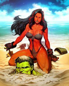 Red She-Hulk Plus - Hit The Beach by GENZOMAN on @DeviantArt
