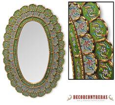 """Handmade Oval Mirror style Cuzco, """"Flower of Life""""- Decorative wall mirrors style Cuzco - Home Decor - Bathroom mirror -Peruvian Handicrafts"""