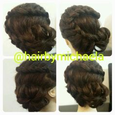 French braid with flower bun  https://m.facebook.com/photo.php?fbid=1375417612731997&id=100007913132339&set=a.1375417399398685.1073741827.100007913132339&source=43