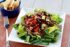 Barbacoa Beef Salads with Black Bean Avocado Salsa