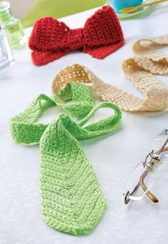 Last-Minute Father's Day Project! Free pattern for crochet tie and bow tie