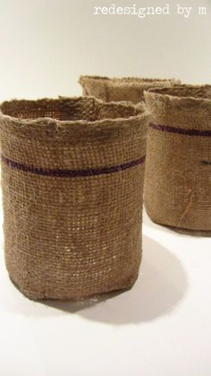 DIY Burlap Baskets   Redesigned By M - add a grommet and hang from a hook!!