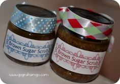 Make Your Own Brown Sugar Scrub!   1/2 cup of ground oatmeal (use a blender)  1/2 cup of brown sugar (packed)  1/2 cup of olive oil (calls for 1/4 cup of almond oil, but olive oil is more readily available and cheaper.  It is also great for your skin)  1 tsp of Vanilla extract
