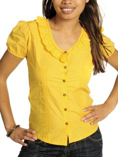 $23 Freesoul Blusa - Mujer - amarillo - XS S M L XL Corte ligeramente entallado Suave tejido algodón Corsage, V Neck, Womens Fashion, Closet, Tops, Yellow Blouse, Yellow, Yellow Things, Mature Women Fashion