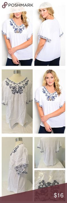 3X NIP White Navy Blouse White plus size top featuring a loose fit and navy embroidery on neckline and sleeves.   Item is new and will come wrapped in plastic   Color: white with navy detailing Tops Blouses