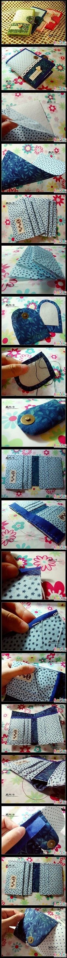 Reciclados e ideas paso a paso en imagenes. [og comm] 手工DIY- not in English but very clear pictures if you know how to sew[og comm] 手工DIY- not in English but very clear pictures if you know how to sew Diy Wallet, Fabric Wallet, Wallet Tutorial, Fabric Bags, Small Wallet, Sewing Hacks, Sewing Tutorials, Sewing Patterns, Patchwork Bags