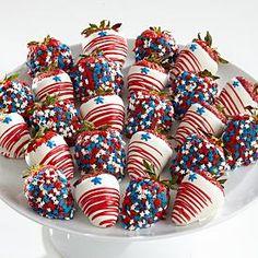 patriotic chocolate covered strawberries.