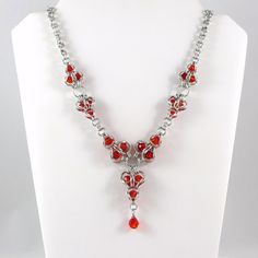 Chainmail Necklace with Swarovski Fireopal by HCJewelrybyRose, $30.00