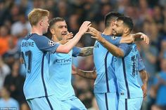 The 28-year-old striker was again mobbed by the rest of his City team-mates after slotting home well from the penalty spot