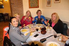 Motorcycle touring in Italy. Women motorcycle riders enjoy authentic Italian dinner in Rome after the ride! Female Motorcycle Riders, Motorcycle Touring, Women Motorcycle, Italy Tours, Rome, Dinner, Dining, Food Dinners, Rome Italy
