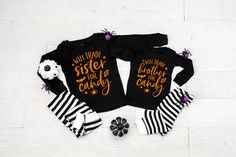 Will Trade Brother & Sister for Candy Infant Toddler Halloween Pajamas - Matching Pajamas - Pajamas for Twins - Boy Girl Twins - Sibling PJs by TwinkleTwinkleTees on Etsy Halloween Pregnancy Shirt, Halloween Pregnancy Announcement, Halloween Pajamas, Pregnant Halloween, Toddler Halloween, Pregnancy Shirts, Halloween Outfits, Boy Girl Twins, Twin Boys