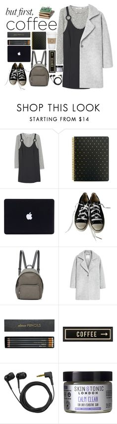 """""""First coffee"""" by i-am-cool-girl ❤ liked on Polyvore featuring MANGO, Sugar Paper, Converse, STELLA McCARTNEY, Sloane Stationery, WALL, Spicher and Company, Sennheiser and Skin & Tonic"""