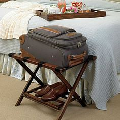Guest Room Essentials: Have a folding luggage rack or a dresser top cleared so your guests can place their suitcase on it. This will save them from having to bend over constantly to access the suitcase while it sits on the floor.
