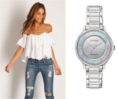 Reloj Dama CITIZEN ECO-DRIVE L CIRCLE OF TIME. Doble cristal zafiro curvo, caratula madre perla, 7 diamantes de 1.2mm en anillo, con certificado, caja acero, WR5