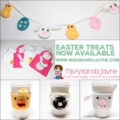 Easter treats in #crochet are now available at #msamandajayne on #etsy! #garland #bunting #giftbags #cozies #easterbunny #sheep #chicks