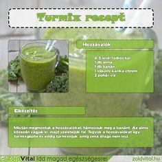 Egy finom zöld turmix receptje fodros kelből #recept #zöldturmix - 4-5 levél fodros kel - 1 db alma - 1 db banán - 1 vékony karika citrom  - 2 pohár víz