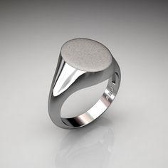 Gentlemens Modern 14K White Gold Oval Signet Ring by DesignMasters