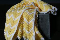 Crochet Yellow and White Ripple Zig Zag Chevron Baby Afghan Blanket. $75.00, via Etsy.
