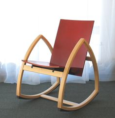 Woodpecker Rocking Chair by Colmio, Finland. Raspe the triangles with flatter tops, felt the rocking lengths, add new seat. Love Chair, Rocking Chairs, Commercial Design, Kitchen And Bath, Scandinavian Design, Chair Design, Wood Furniture, Wood Projects, Sweet Home