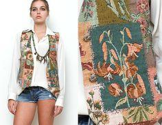 Vintage 80s 90s Revival Vest Grunge Green Floral by shoprabbithole