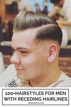 A pompadour haircut with a low fade is a great hairstyle option for men with receding hairlines. Check out this list and find some cool looks that will convince you of giving them a new try. #menrecedinghairlines #baldingmenhairstyles #pompadour #lowfade #menhairstyles #manhaircuts