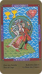 Two of Cups from the Kazanlar Tarot at TarotAdvice Tarot Reading, Tarot Decks, Tarot Cards, Art Gallery, Cups, Baseball Cards, Image, Tarot Card Decks, Art Museum