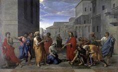 Christ And The Woman Taken In Adultery by Nicolas Poussin