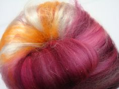 Orchids and Plumeria - hand carded batt for spinning yarn