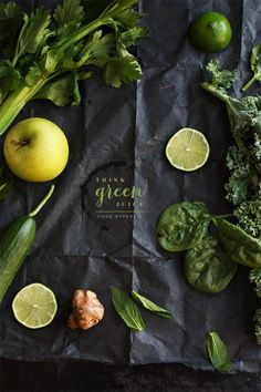 Think Green Juice:  1 celery stick with leaves, chopped  1 green apple, cored and chopped  2 large kale leaves, stems removed  1 cucumber, chopped  1/2 inch piece of ginger, chopped  handful of spinach leaves  handful of mint leaves  juice of 2 limes  2 teaspoons stevia (or raw sugar)  1/4 teaspoon salt flakes  600ml cold water  1 teaspoon spirulina powder (optional)  Blend & strain