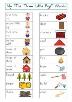 The Three Little Pigs Word Wall packet. Includes a personal word wall for… Fairy Tale Activities, Book Activities, Preschool Activities, 3 Little Pigs Activities, Fairy Tales Unit, Fairy Tale Theme, Word Work Centers, Traditional Tales, Third Grade Science
