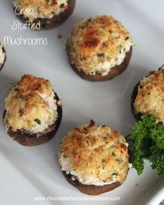 ~ Crab Stuffed Mushrooms-with a hint of hot sauce to give them just a little kick