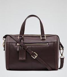 Enzo Burgundy Boxy Leather Tote - REISS
