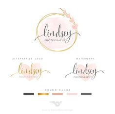 Premade Branding Kit Photography Logo Set von BVLogoDesign auf Etsy