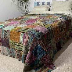 Luxury cotton and silk velvet, short pile patchwork quilt in mulitcolours. Kantha Quilt, Quilts, Velvet Bedspread, Open Fireplace, Bedroom Styles, Luxurious Bedrooms, Blue Velvet, Quilt Making, Bed Spreads