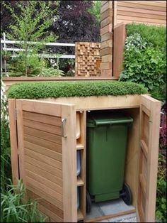Garden Design Ideas : A wheely bin store with a green roof? How about having a wildflower mix on top instead?