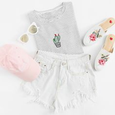 White Pinstripes Potted Embroidered T-Shirt