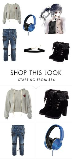 """""""Unmei Chieko Casual1.0"""" by min-biangka on Polyvore featuring moda, Sans Souci, Dsquared2 e Skullcandy"""