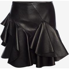 Alexander McQueen Ruffled Lambskin Leather Skirt ($3,335) ❤ liked on Polyvore featuring skirts, mini skirts, black, flounce skirt, mini skirt, frilled skirt, short frilly skirt and alexander mcqueen skirt