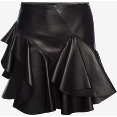 Alexander McQueen Ruffled Lambskin Leather Skirt (£2,745) ❤ liked on Polyvore featuring skirts, mini skirts, alexander mcqueen, black, mini skirt, short skirts, ruffle skirt and frilled skirt
