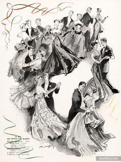 Reschofsky 1951 Dancers, Bal Des Petits Lits Blancs, Evening Gowns