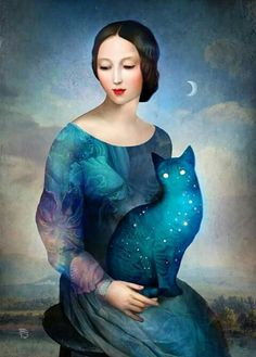 """""""Night Cat"""" Digital Art by Christian Schloe posters, art prints, canvas prints, greeting cards or gallery prints. Find more Digital Art art prints and posters in the ARTFLAKES shop. Portrait Male, Cat Art Print, Cat Posters, Moon Art, Surreal Art, Painting Inspiration, Fantasy Art, Art Drawings, Art Photography"""