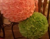 My large fabric pom poms are perfect decor for both your home and special occasions. I can make them in any color, fabric, or pattern. Wedding Colors, Wedding Ideas, Peach And Green, Cute Crafts, Love And Marriage, Fabric Flowers, Kylie, Beautiful Flowers, Lisa